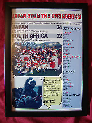 Japan 34 South Africa 32 - 2015 Rugby World Cup - framed print