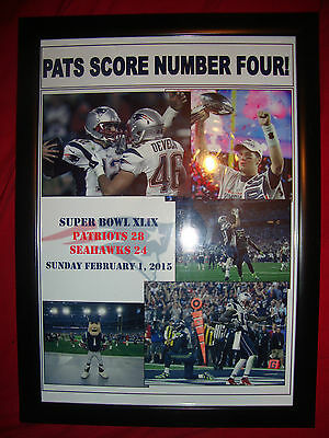 New England Patriots 28 Seattle Seahawks 24 - 2015 Super Bowl - framed print
