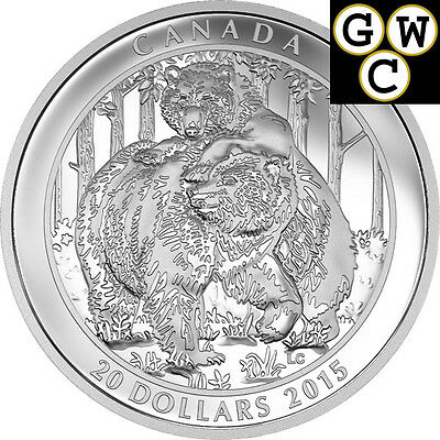 2015 'Grizzly Bear - Togetherness' Proof $20 Silver Coin 1oz .9999 Fine (17438)
