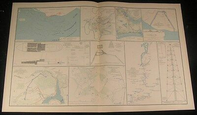Union Defensive Line Deep Bottom Virginia c.1890s antique detailed Civil War map