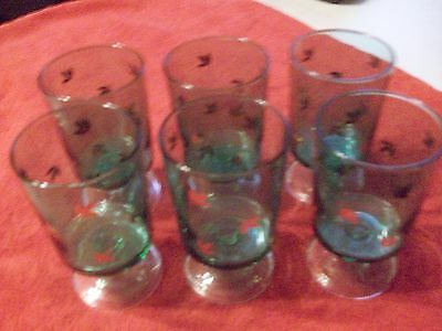 French Footed Drinking Glasses Green With Gold Leaves