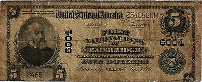 First National Bank Of Bainbridge Ga #6004 $5 Plain Back Large Sz Nat Currency