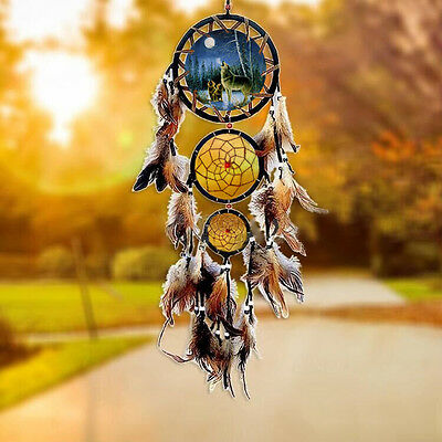Native American Dream Catcher with Feather Wolf Wall Hanging Decor Gift Ornament