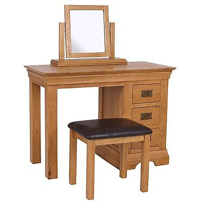 Rustic Farmhouse Solid Oak Wooden Dressing Table Bedroom Furniture