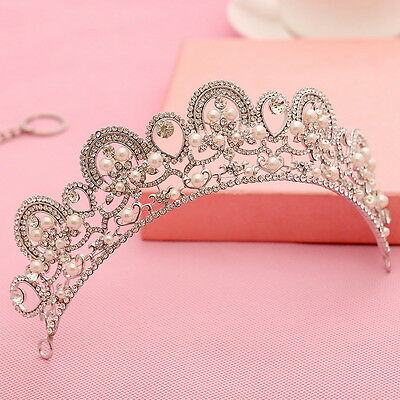 4cm High Elegant Pearl Crystal Adult Tiara Crown Wedding Prom Party Pageant