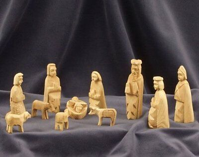 Nativity Set figures - Simple. Hand-carved from olive wood in the Holy Land. 9