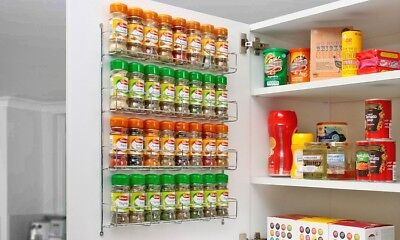 Chrome 4 Tier Back Of Door Spice Rack Spice Holder Packet Jar Kitchen Storage