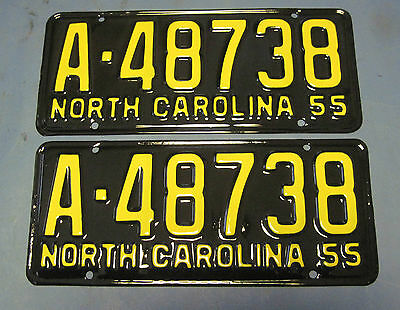 1955 North Carolina license plates matched pair Professionally Restored