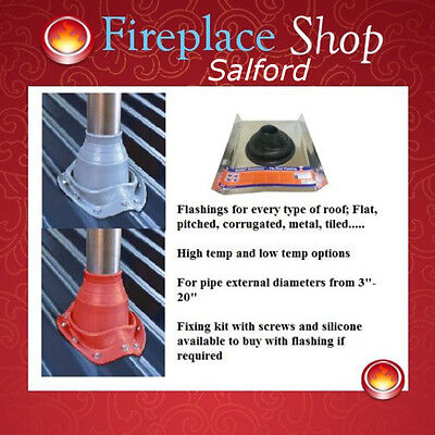 Roof Flashing seals for wood burning stove flues on tiled, flat & sloped roofs