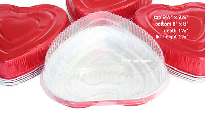 Disposable Aluminum Large Heart Shaped Cake Pan w/ Clear Lid - #339P
