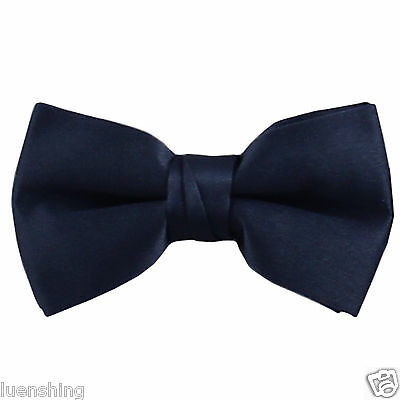 New KID'S BOY'S 100% Polyester Pre-tied Bow tie only navy blue formal wedding