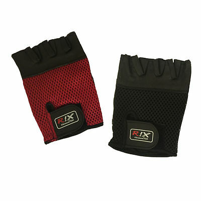 Rix Crochet Leather Fingerless Gloves Half Finger Cycling Bike Bicycle Gym Mitts