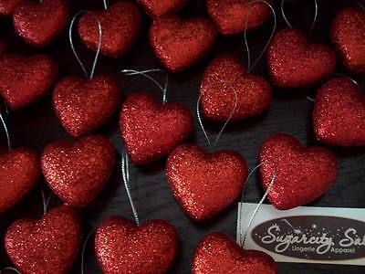 """New 1 1/2"""" Red Heart Glitter Valentine Ornament Set Of 15 Puffed Hanging 3-D"""