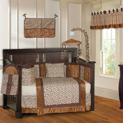 10 Piece Brown Leopard & Minky Unisex Baby Crib Bedding (include musical MOBILE)