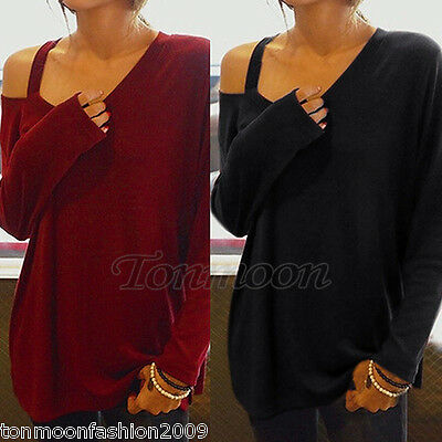 Women Ladies Long Sleeve T Shirts Blouse Top New Casual Loose Tee Tops Size 8-18