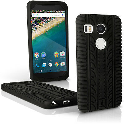 Black Tyre Silicone Gel Skin Case for LG Nexus 5X Rubber Cover Screen Protector