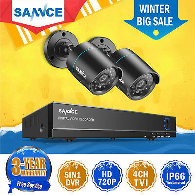 SANNCE 4CH 720P  HD DVR Outdoor Night Vision 1200TVL CCTV Security Camera System