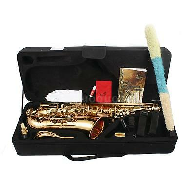 LADE Brass Bb Tenor Saxophone Sax Carved Pattern Wind Instrument with Case OE0F