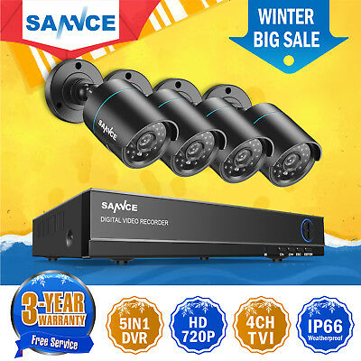 SANNCE 4CH 1080N DVR 720P CCTV IR Home Surveillance Security Camera System Night