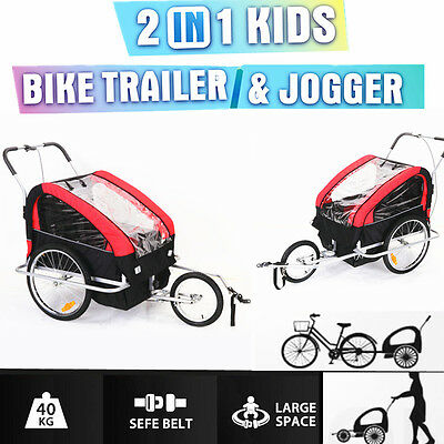 AU-Bicycle Trailer Bike Stroller Jogger Double Kids Child Seat Buggy