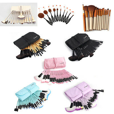32Pcs Professional Eyeshadow Makeup Brushes Set & Oval Cream Toothbrush + Bag