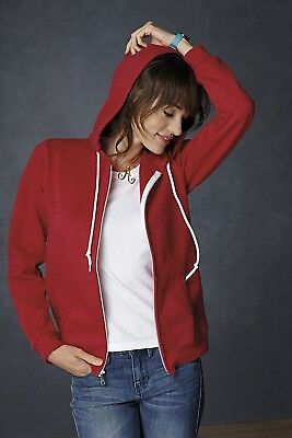 Anvil Womens Plain Fashion Full Zip Hooded Sweat Hoodie Hoody 10 Colours