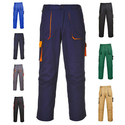 Texo TX11 Contrast Work Cargo Trousers With Knee Pad Pockets Half Elastic Waist