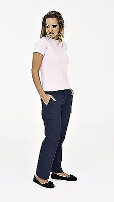 Ladies Womens Cargo Combat Work Wear Trousers Black or Navy Size 8 - 20