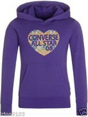 Converse Girl`s Hoodie Purple Jumper Size 3-4,4-5,5-6,6-7,8-9,10-11,12-13yrs