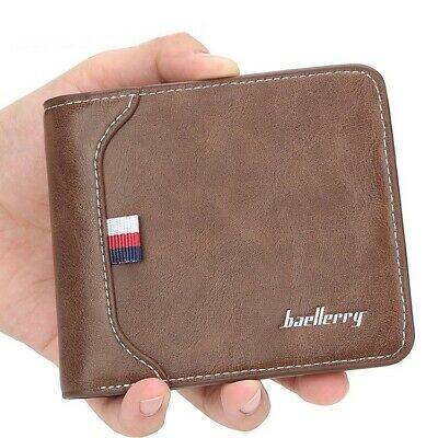 Men's Leather Bifold Credit ID Card Holder Billfold Thinfold Wallet Slim Purse