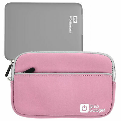 Pink Water Resistant Zip Case For WD Elements 1TB & 2TB External Hard Drives