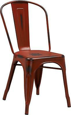 Distressed Kelly Red Metal Indoor Stackable Chair