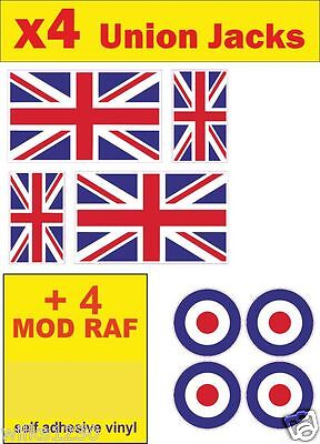 4 Union Jack flag England Stickers decal uk GB MG car van bus truck bike Scooter