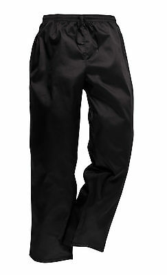 Drawstring Lightweight Texpel Chefs Workwear Catering Black Work Trousers C070