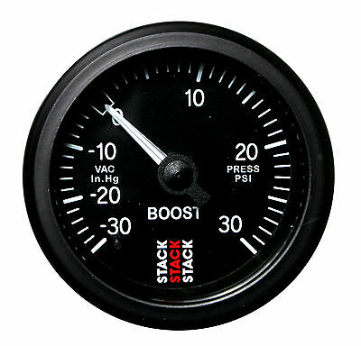 Stack Mechanical Turbo Boost Pressure Gauge -30 To +30 Psi Black Face 52mm Dia