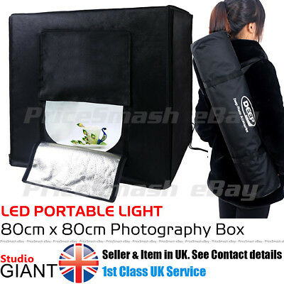 Professional Photo Studio Kit Led 80Cm Light Box Cube Tent Portable Photography