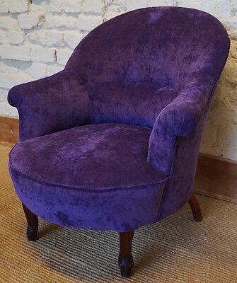 A French Antique Velvet Tub Chair - Newly Reupholstered