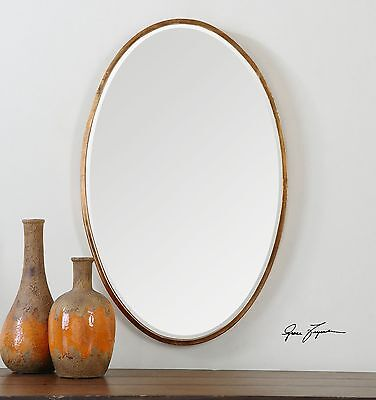 Thin Frame Gold Oval Wall Mirror   Classic Contemporary Vanity