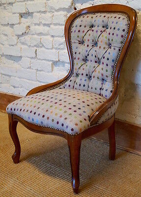 A mid 20th Century Antique Occasional Chair in 100% Wool By Moon Fabrics