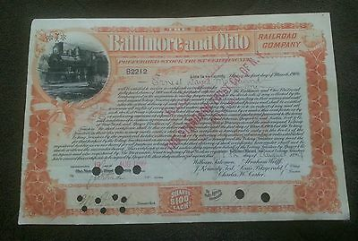 Baltimore And Ohio Railroad Co. 1899, Stock Certificate,  With 2 Revenue Stamps