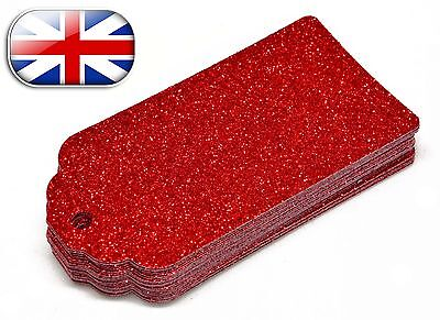 Luxury Gift Tags Christmas Birthday Wedding Party Glitter 280 gsm Red Deluxe