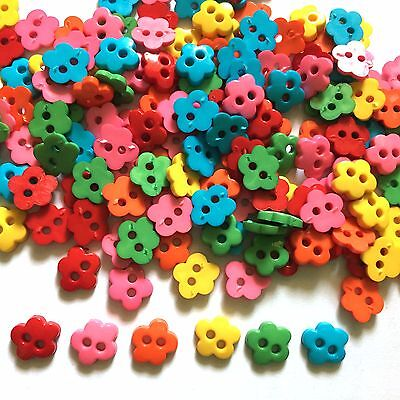 100 pcs tiny Cherry blossom flower button size 7 mm mix rainbow color