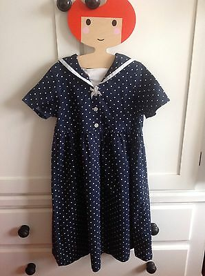 Laura Ashley Vintage 1980s girl's sailor dress Age 5 Nautical 4-5