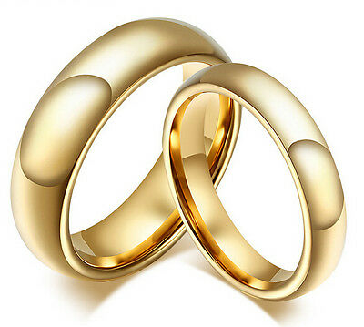 18k Gold Plated Pure Tungsten Steel Couple Rings wedding band Promise Gift