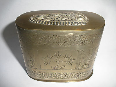 Antique Chinese Brass Round Cigarette Box With Floral Decoration