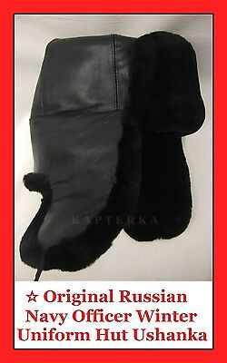 Authentic Russian Navy Submarine Officer Winter Uniform Hat Cap Ushanka Leather