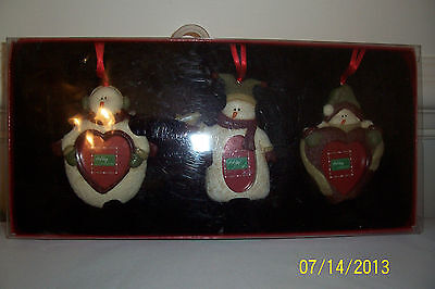 Snowmen Holiday Set of 3 Picture Holders - NIP
