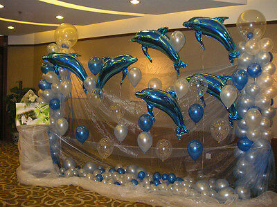 10p Blue Pink Dolphin Foil Helium Balloon Birthday Party Wedding Decoration Toy