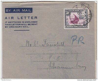 Kenya-U-T KGVI 50C Air Letter to South Africa ZZ532