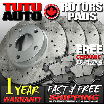 C0673 FIT 2007 2008 2009 2010 2011 Toyota Camry Drilled Brake Rotors Pads F+R